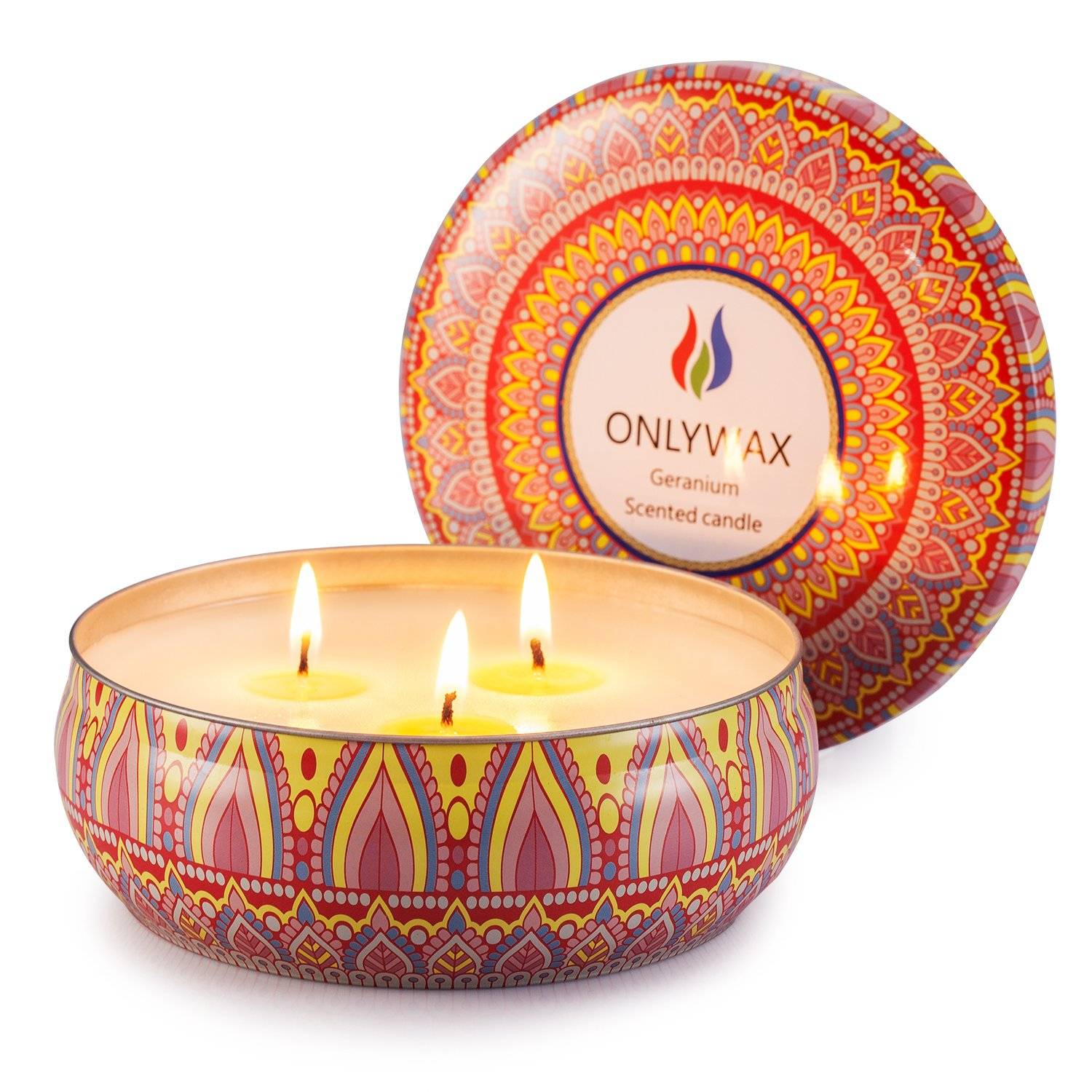 Scented Candles Soy Wax 3 Wick Tin 70 Hour Burn,Essential Oils-for Stress Relief and Relaxation,Outdoor and Indoor B078PG8QFC Geranium
