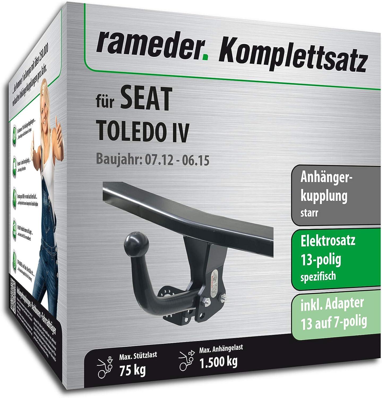 13pol Elektrik f/ür SEAT Toledo IV Anh/ängerkupplung starr 118950-10880-1 Rameder Komplettsatz