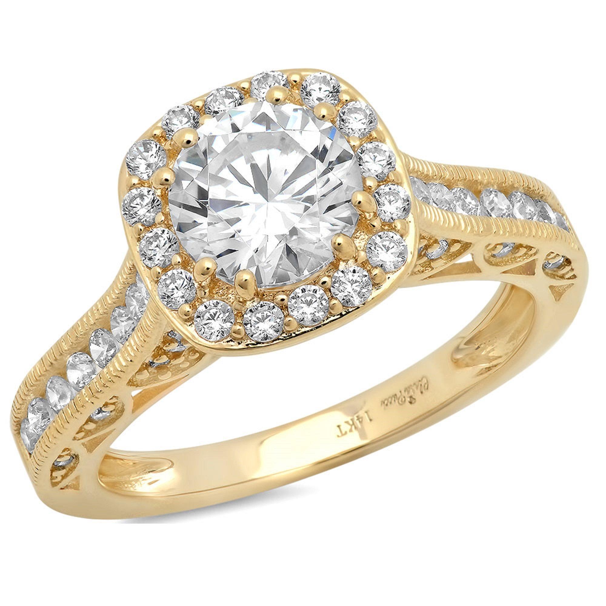 Clara Pucci 2.0 CT Round Cut CZ Pave Halo Wedding Bridal Engagement Ring Band 14k Yellow Gold, Size 3.75 by Clara Pucci
