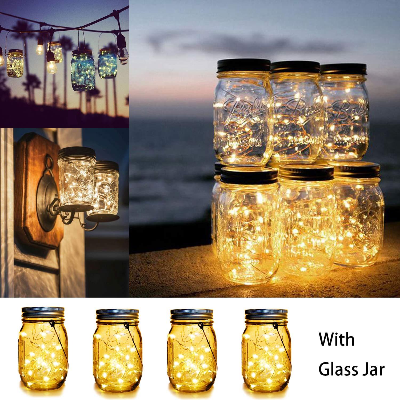 WERTIOO Solar Powered LED 4 Pack Mason Jar Lights
