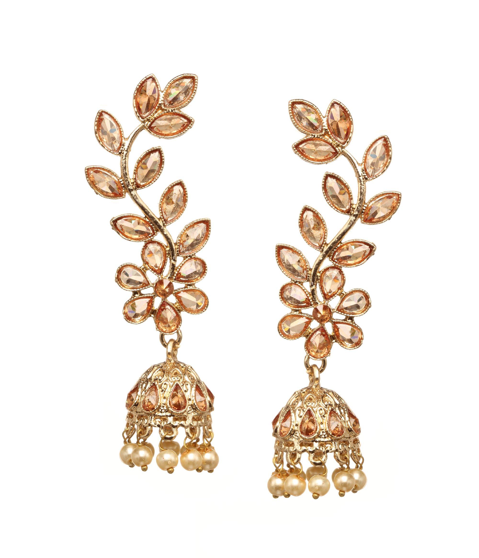 Bindhani Premium Quality Indian Wedding Bollywood Jewelry Golden Stone Dangle Jhumka Jhumki Earrings For Women