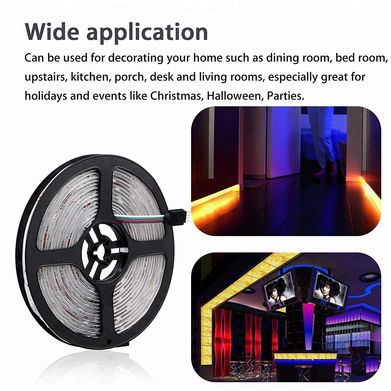 WheeFi LED Strip Lights WiFi Wireless Smart Phone Controlled Strip Light Kit 16.4ft 300LEDs 5050 Color Changing LED Waterproof IP65 Alexa Google Home Android/iOS Compatible