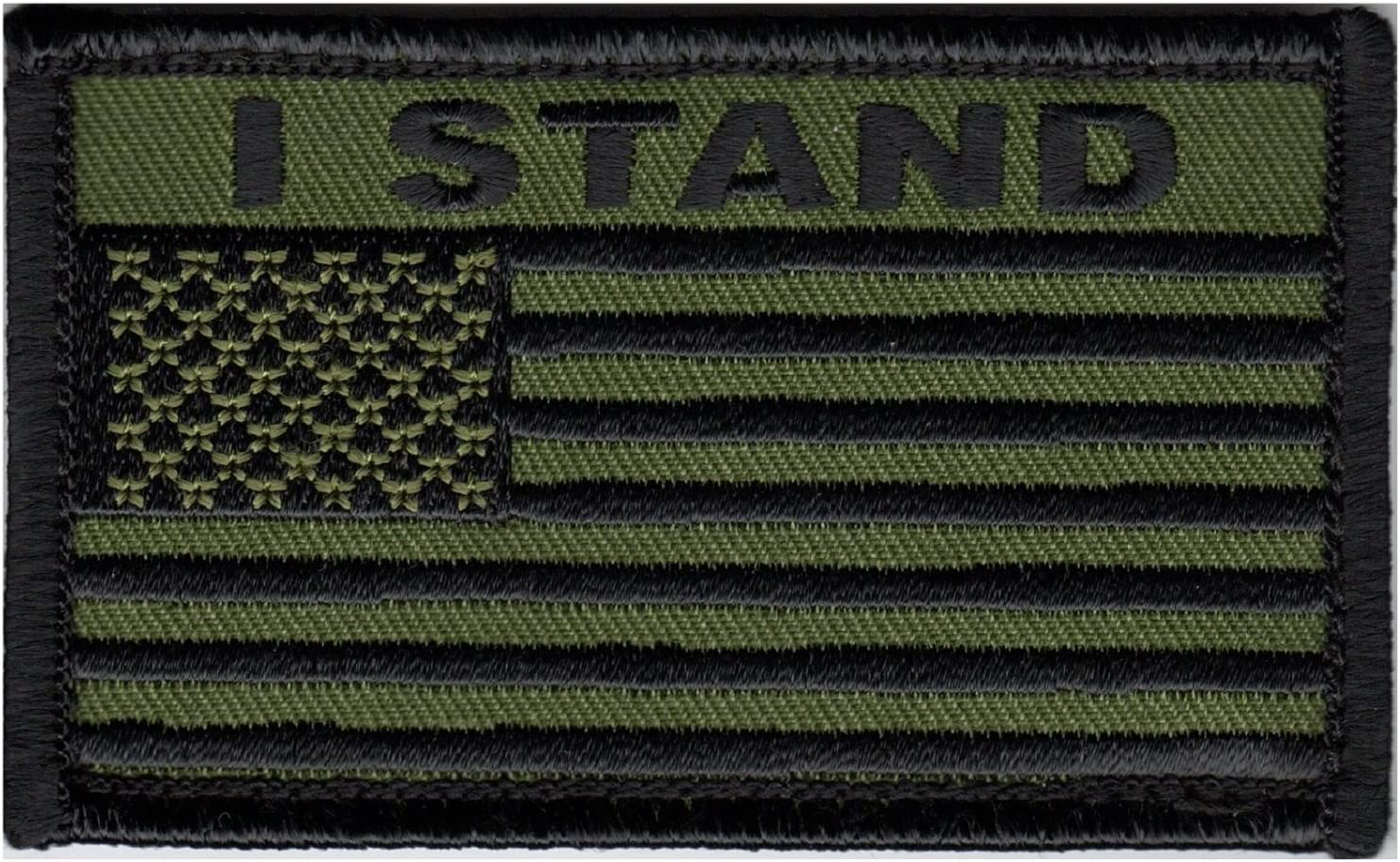 Eagle Crest I STAND American Flag 2 x 3 Hook /& Loop 2 Piece Patch