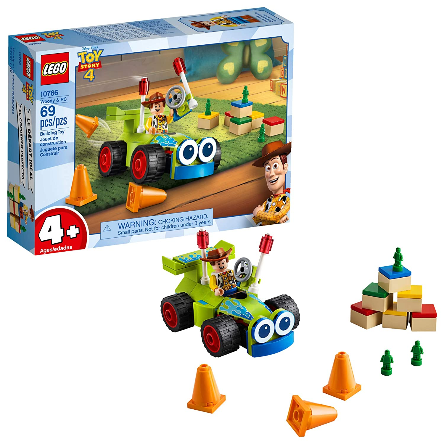 LEGO | Disney Pixar's Toy Story 4 Woody & RC 10766 Building Kit, New 2019 (69 Piece)