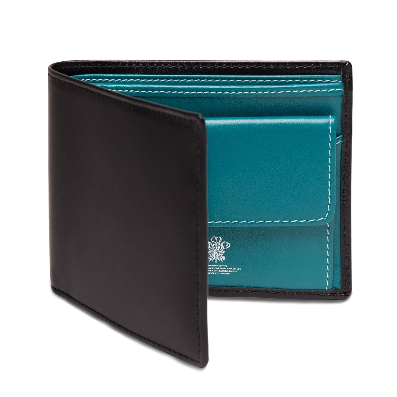 ETTINGER / エッティンガー レザービルフォールド ウォレット 二つ折り財布 小銭入れ付き ブラック/ターコイズ(内側) B00EHITCKU