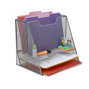 Mind Reader Mesh Desk Organizer 5 Trays Desktop Document Letter Tray for Folders, Mail, Stationary, Desk Accessories, Silver