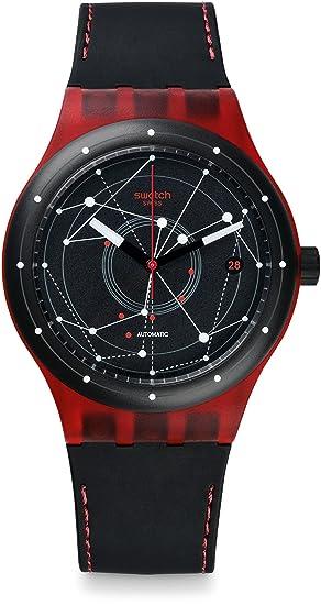 Swatch Reloj Digital para Hombre de Automático con Correa en Cuero SUTR400: Amazon.es: Relojes