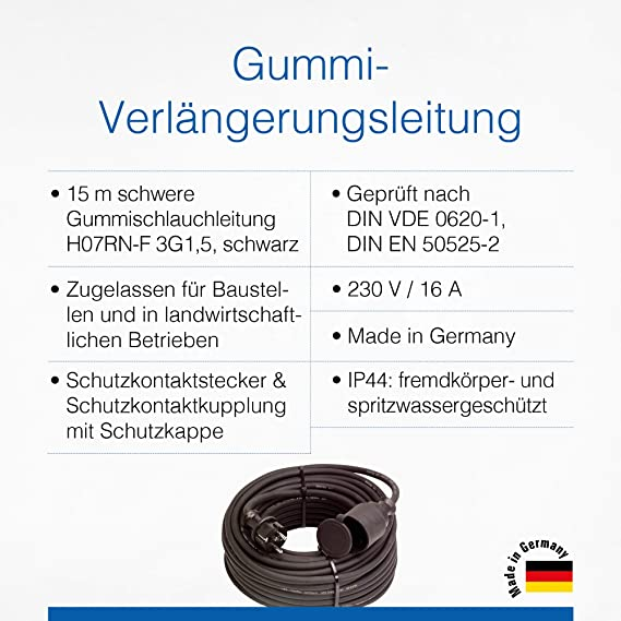 As Schwabe Rubber Extension Cable 15 M Cable With Earth Contact Plug Protective Contact Coupling Incl Protective Cap 230 V 16 A Extension Cable Ip44 Made In Germany Black I 60335 Baumarkt