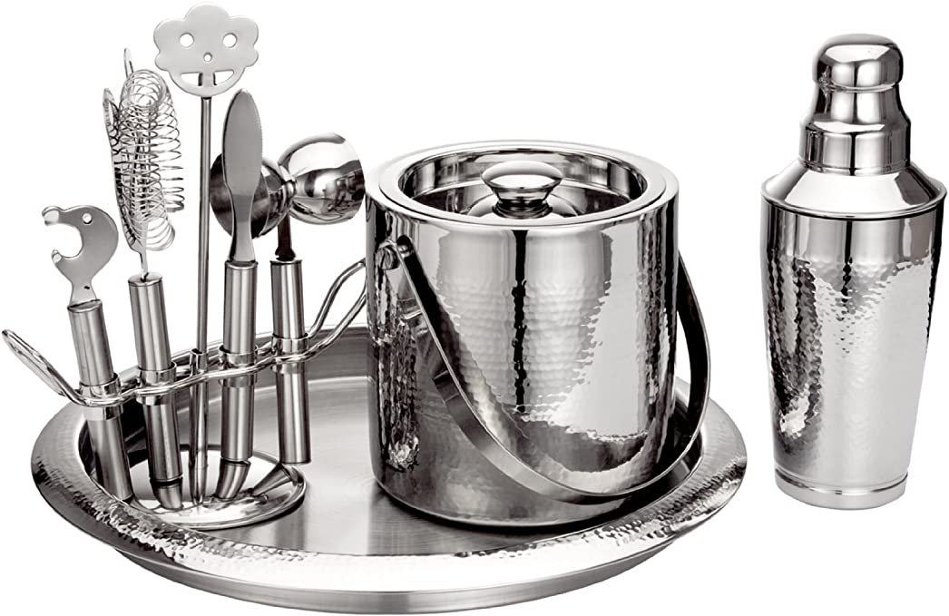 The Mix by Godinger 9 pc Stainless Steel Hammered Finish Bar Set