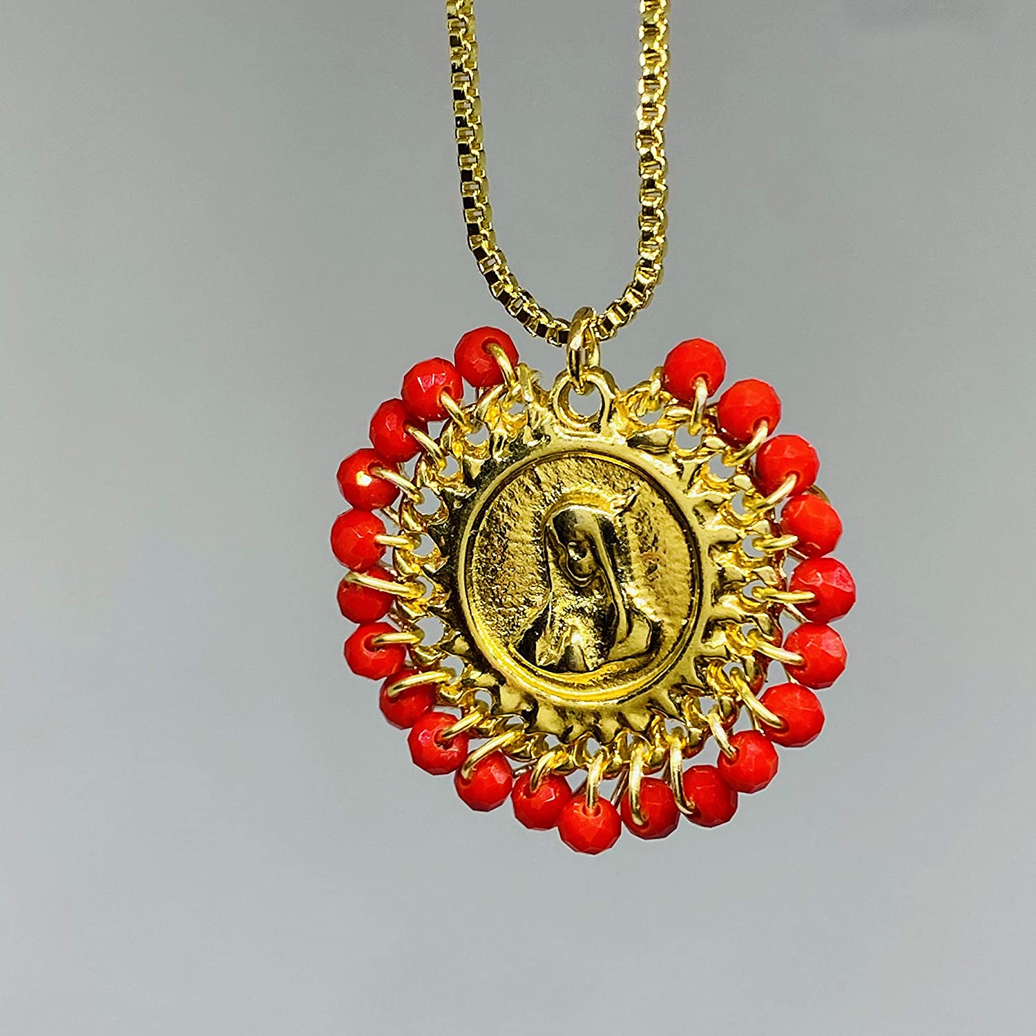 Religious Silver Tone Curb Chain Red Faceted Glass Beads Handmade Virgen De Guadalupe Necklace Mother/'s Day Gift Mexico/'s Patron Saint
