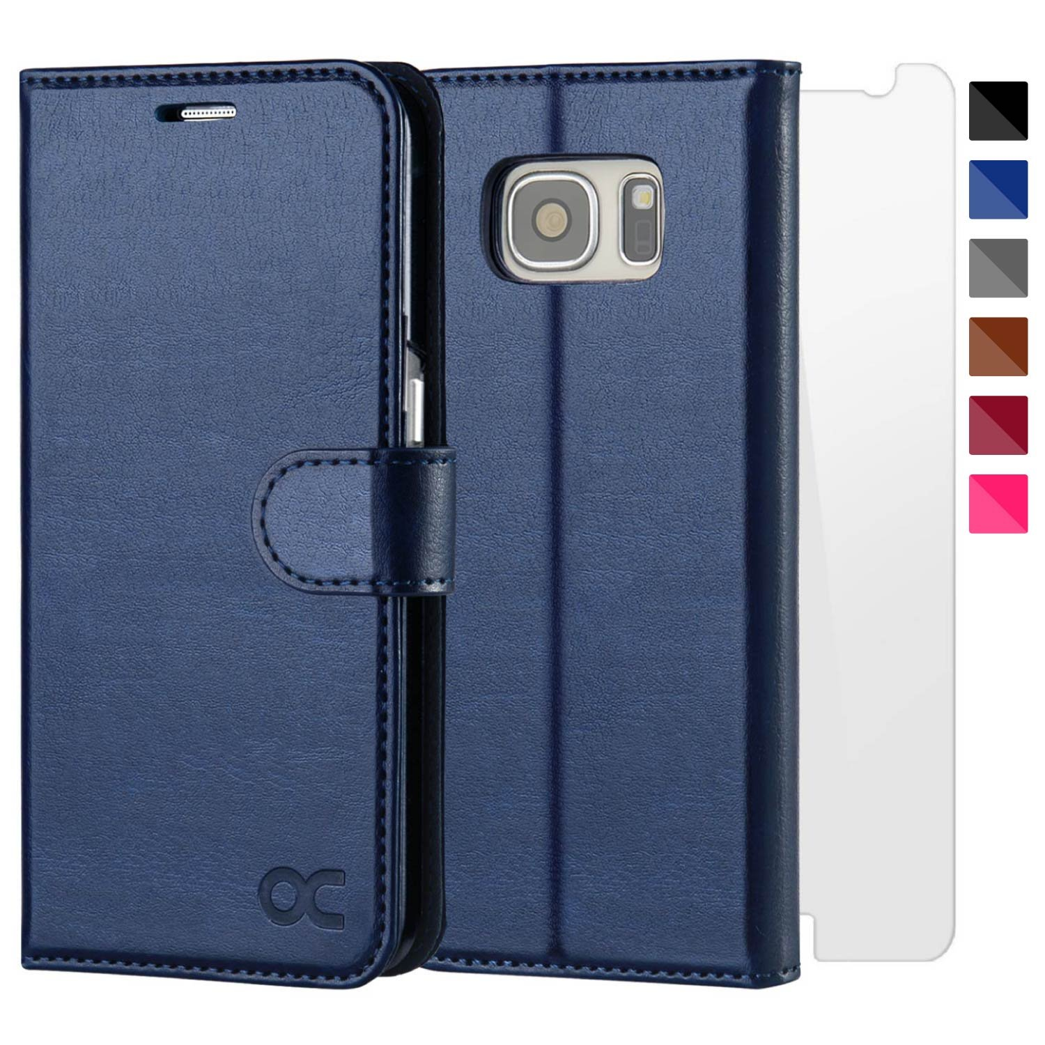 OCASE Samsung Galaxy S7 Case [Screen Protector Included] Leather Flip Wallet Case For Samsung Galaxy S7 - Blue