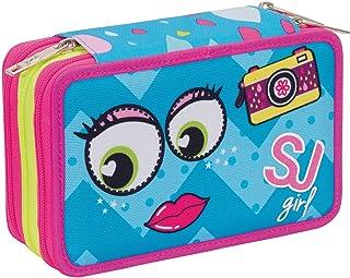 Astuccio 3 Zip - SJ GANG - FACCE DA SJ GIRL - Azzurro Rosa - Con CONTENUTO FILA: matite, pennarelli... FILA: matite, pennarelli... 3C2011813-632
