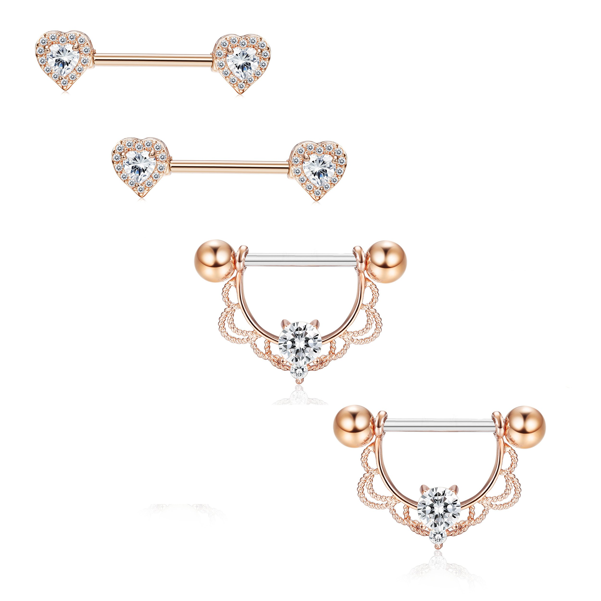 Jstyle 2 Pairs 316L Stainless Steel Nipple Piercing Tongue Rings Heart Barball CZ Nipplerings Body Piercing Rose Gold