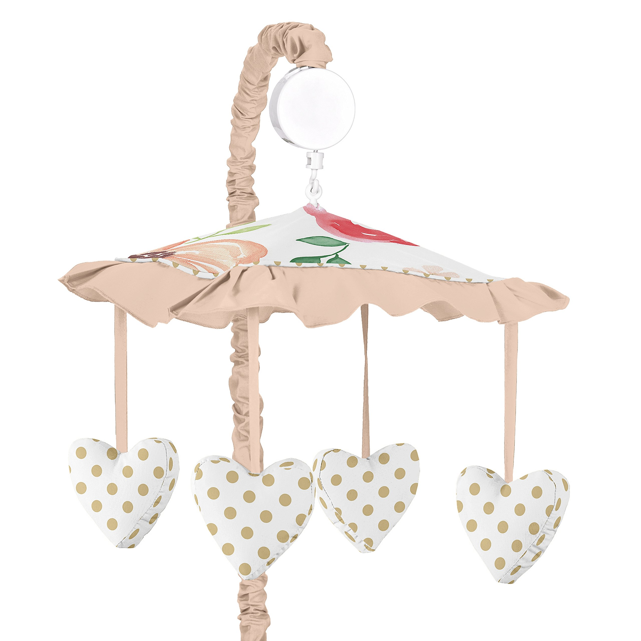Sweet JoJo Designs Peach, Green and Gold Musical Baby Crib Mobile for Watercolor Floral Collection - Pink Rose Flower