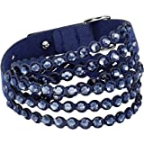 SWAROVSKI Women's Leather Look Crystal Power Bracelet Collection Medium