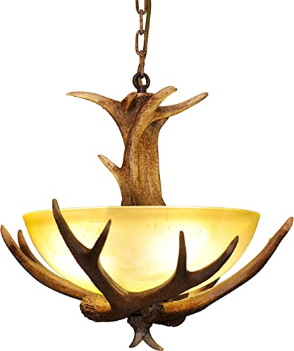 Antler Chandelier Rustic Retro Chandelier Faux Resin Antler Ceiling Light Fixture Frosted Glass Light Kitchen Farmhouse Restaurant Island Bedroom Loft Aisle 3 Light