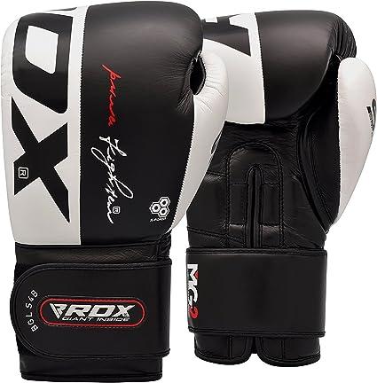 RDX Guantes Boxeo Ace Muay Thai Guantes de saco Sparring Entrenamiento Kickboxing auténtica piel becerro Boxing Gloves Boxeo, blanco y negro, 10 Oz: Amazon.es: Deportes y aire libre