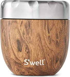 S'well Stainless Steel Bowls-16 Fl Oz-Teakwood-Triple-Layered Vacuum Insulated Containers Keeps Food and Drinks Cold for 12 Hours and Hot for 7-with No Condensation-BPA Free, 16oz