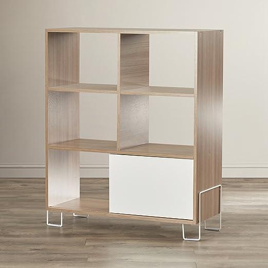 Erica Cube - Estantería con estantes abiertos y puerta corredera de color de madera maciza y fabricada