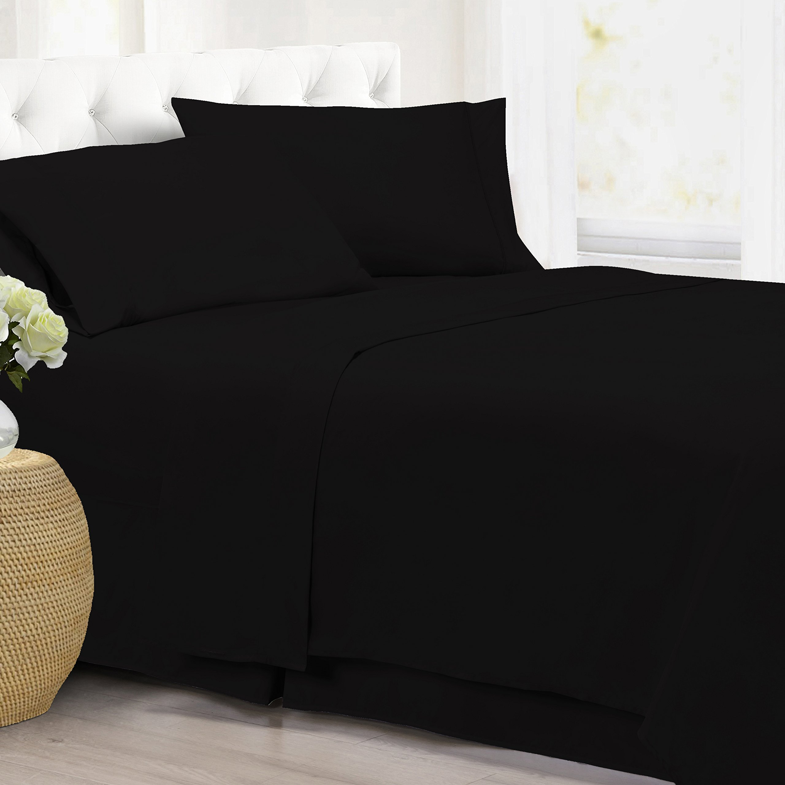 FLAT SHEET - Ultra Soft Premium Luxury Double Brushed Microfiber Bed Sheet - DEEP POCKET, BREATHABLE, Wrinkle, Fade, Stain Resistant, Hypoallergenic, Hotel Quality - (Full, Black)