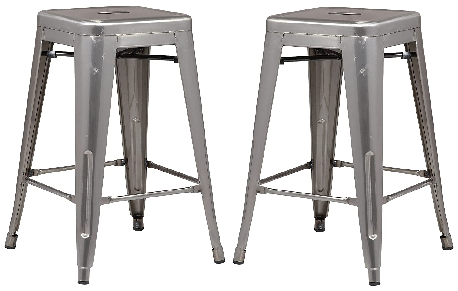 Poly and Bark Trattoria 24 Inch Counter Height Industrial Metal Bar Stool in Polished Gunmetal Set of 2