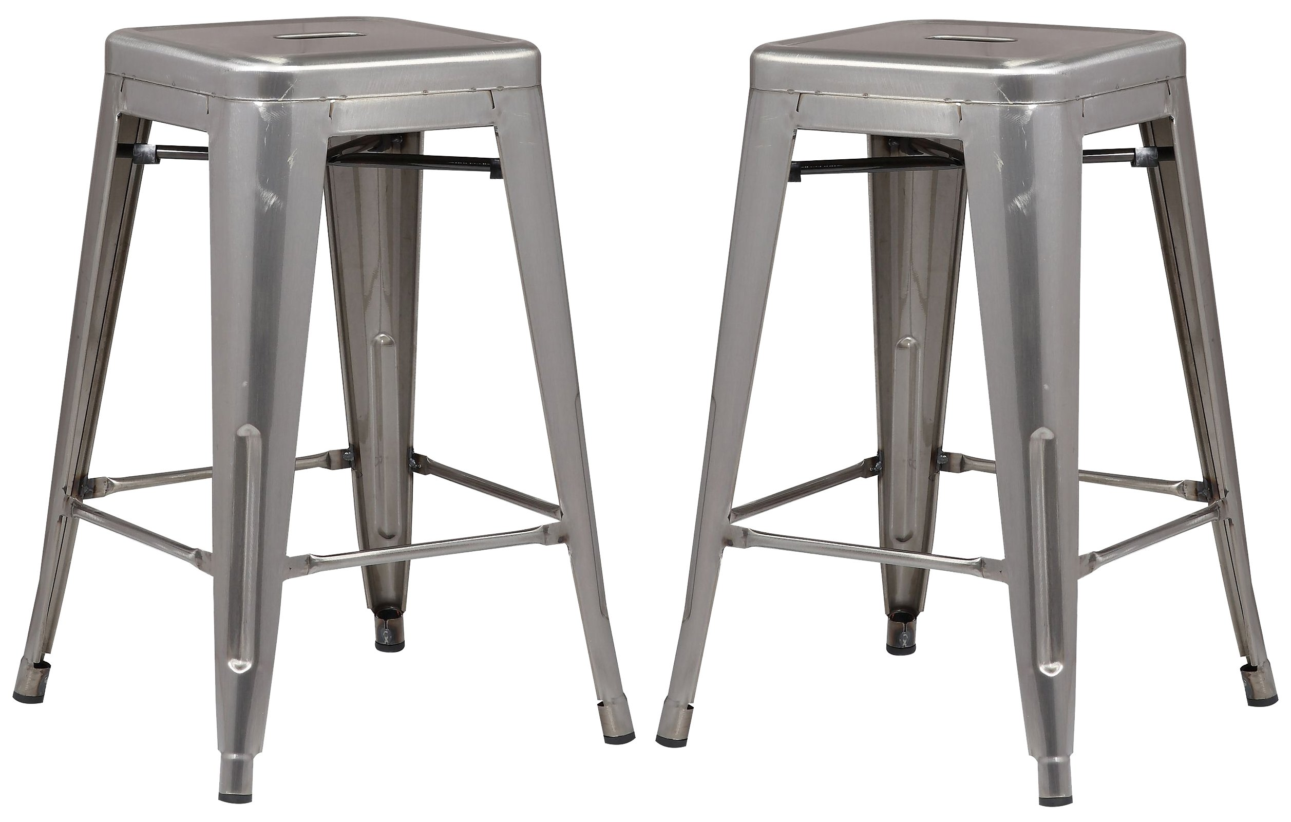 Poly and Bark Trattoria 24'' Counter Height Stool in Polished Gunmetal (Set of 2)