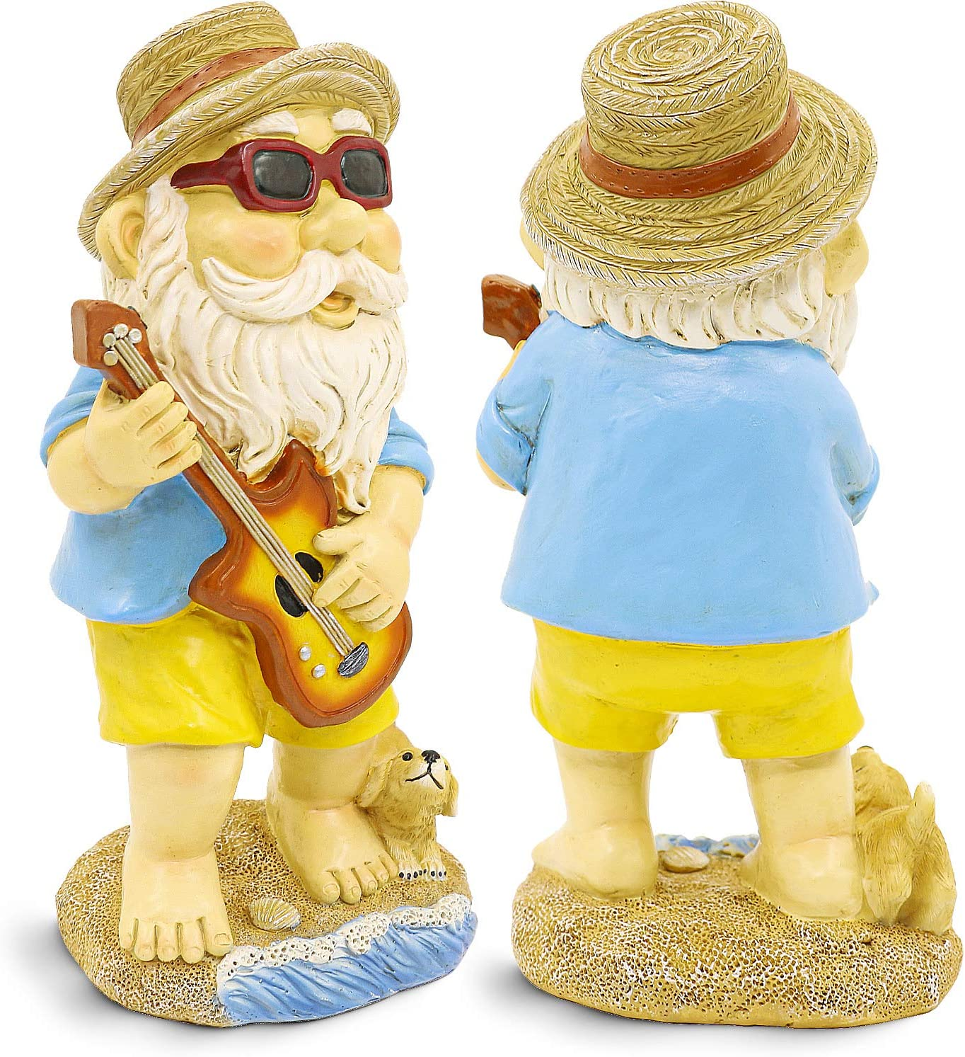 Garden Gnome Statue with Guitar and Puppy, Polyresin Garden Sculpture Outdoor/Indoor Decor, Funny Lawn Figurine, Colorful Outside Art Decorations for Yard, Balcony, Porch, Patio, Home