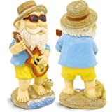 Garden Gnome Statue with Guitar and Puppy, Hippie Decor Garden Sculpture Outdoor/Indoor Decor, Funny Lawn Figurine, Colorful