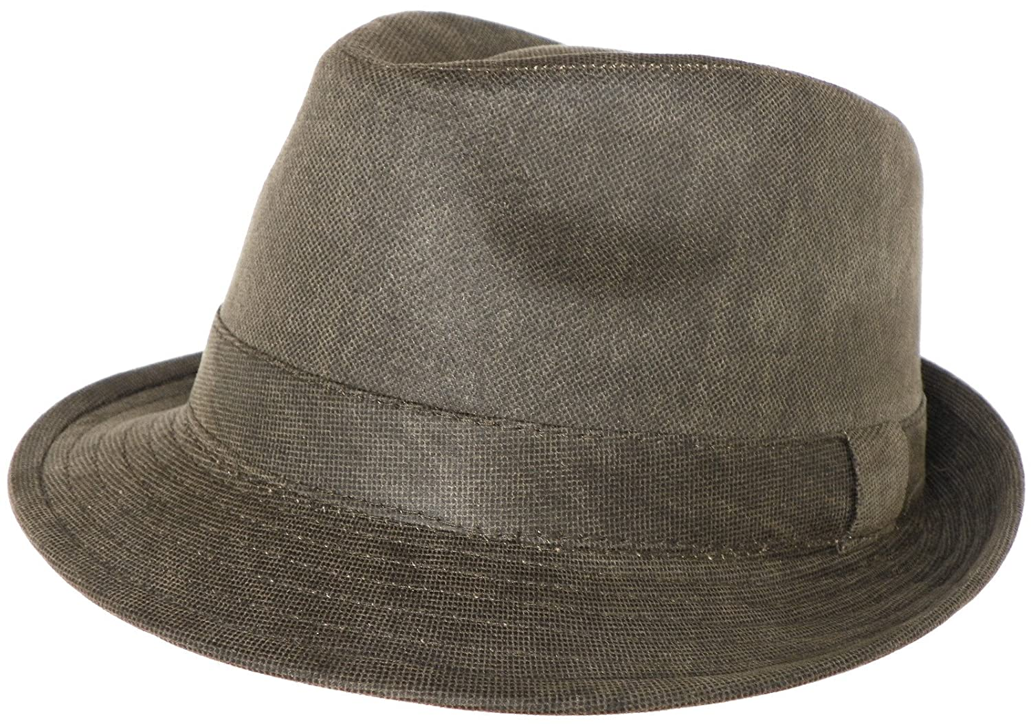 Henschel Stingy Brim Trilby Distressed Cotton Fedora Olive Green Hat