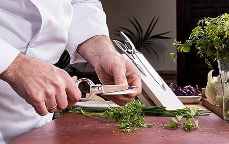 3 Claveles - Set Tijeras Cocina + Cuchillo Verduras, Acero Inoxidable - (Tijera 20 cm, Cuchillo 9 cm)