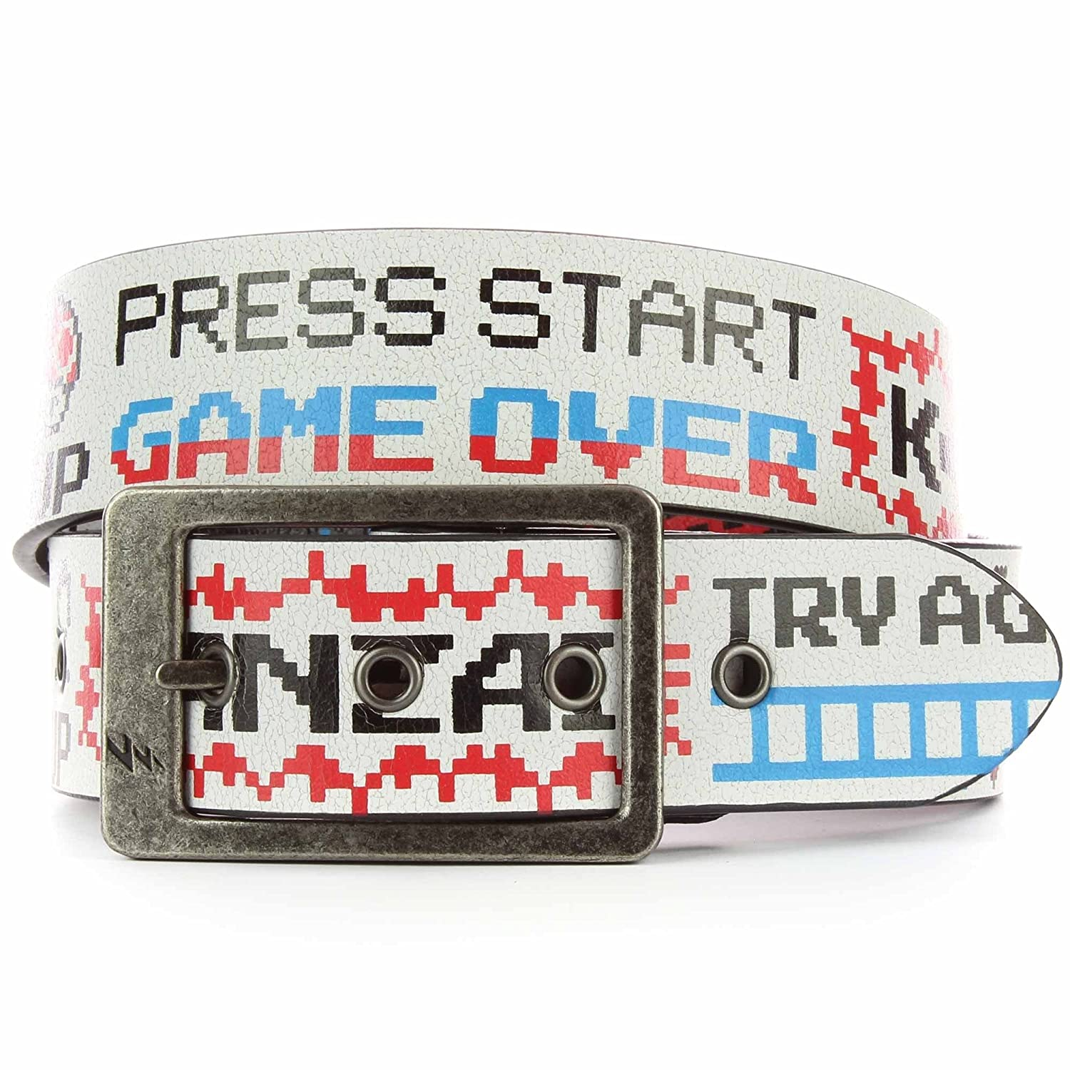Lowlife Game Over Leather Belt in Cracked White