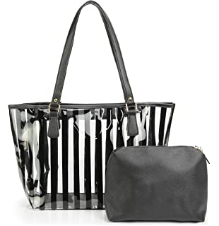 5fa514113370d9 2 in 1 Semi Clear Purse Beach Tote Bags Large Work Shoulder Bag with  Interior Pouch