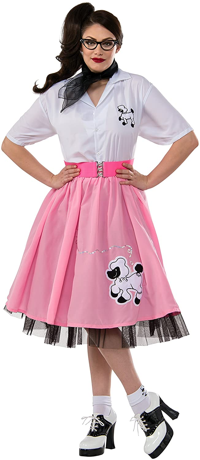 1950s Costumes- Poodle Skirts, Grease, Monroe, Pin Up, I Love Lucy Rubies Costume Co Womens 1950s Plus Size Pink Poodle Skirt Costume $40.12 AT vintagedancer.com
