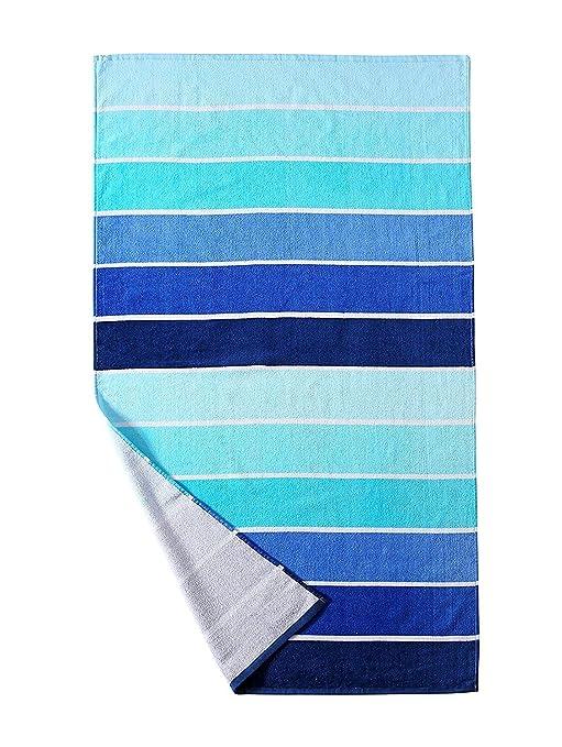 100% algodón toalla de playa, toalla de piscina (degradado azul rayas (30