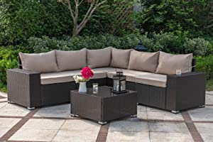 Gotland All-Weather 6 Pieces Patio Furniture Sets Rattan Outdoor Sectional Sofa Handwoven Wicker Patio Dining Conversation Set with Table & Cushions(Dark Brown PE Rattan,Khaki Cover)