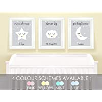 Personalised Nursery Pictures for Childrens Bedroom Stars and Cloud Nursery Decor Baby Room Prints