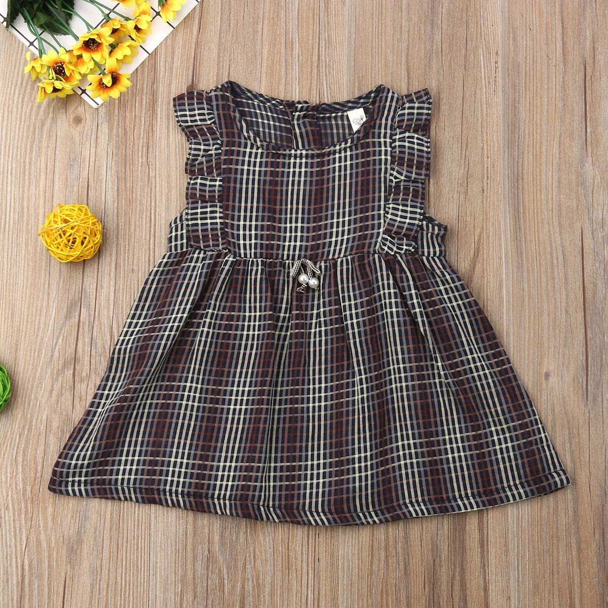 Toddler Baby Girl Ruffle Dress Sleeveless Plaid Sundress Summer Outfit Clothes