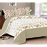 haus & kinder Floral Color Splash 144 TC 100% Cotton Double Bedsheet with 2 Pillow Covers (Grey)