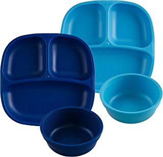 product image for Re-Play Made in USA 4pk Starter Dining Set of 2 Divided Plates with 2 Matching Bowls in Navy and Sky Blue. Made from Eco Friendly Heavyweight Recycled Milk Jugs - Virtually Indestructible!