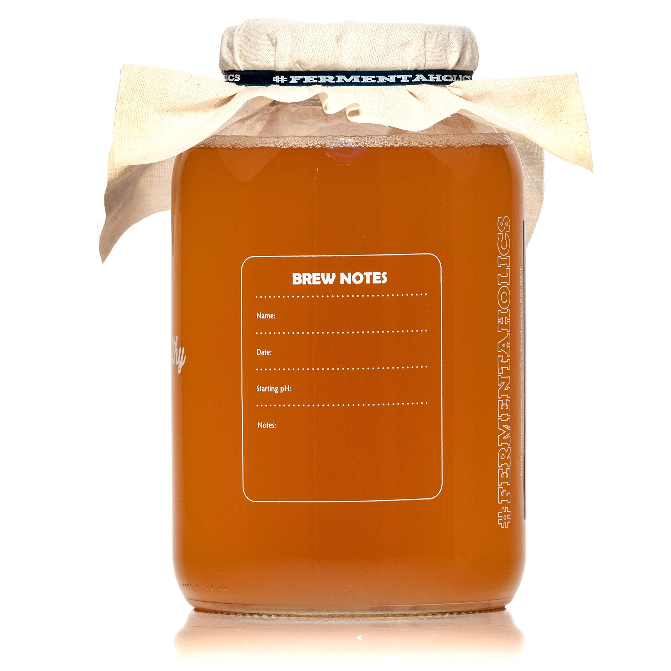 Fermentaholics Kombucha SCOBY (starter culture) + 1-Gallon Glass Fermenting Jar with Breathable Cover + Rubber Band + Adhesive Thermometer - Brew kombucha at Home - Detailed Instructions Included by Fermentaholics (Image #6)