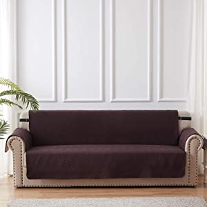 Sofa Slipcover Furniture Protector 100% Waterproof Diamond Pattern Couch Cover with Adjustable Elastic Strap and Non-Slip Backing - Sofa - Chocolate/Beige
