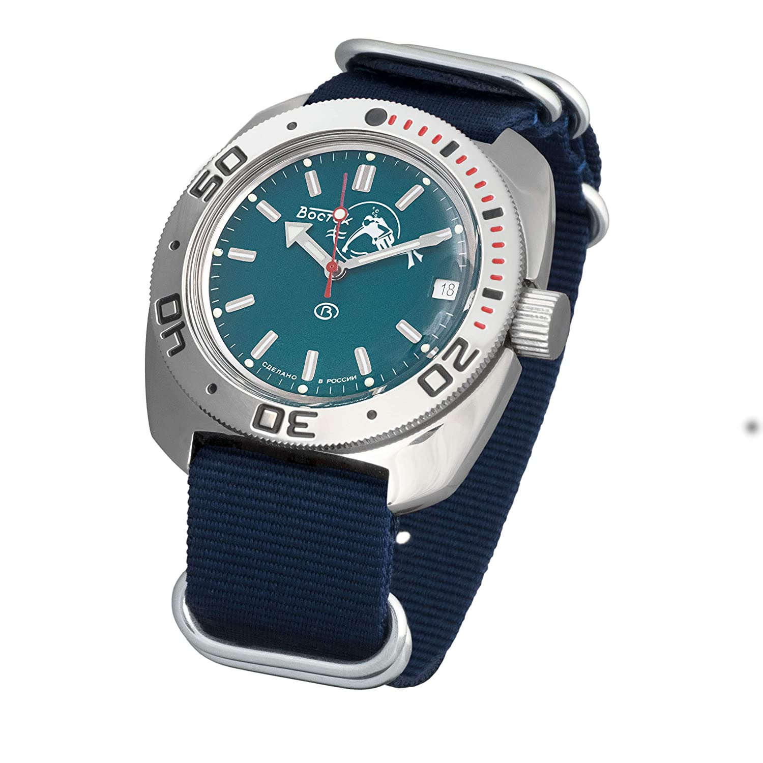 Amazon.com: Vostok Amphibian Scuba Dude Automatic Mens Wristwatch Self-Winding Military Diver Amphibia Ministry Case Wrist Watch #710059 (Blue): Watches