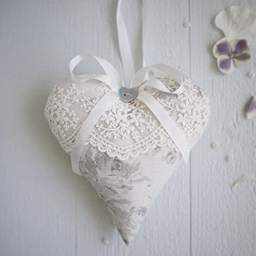 Personalised Grey Linen Heart With Lace Linen Anniversary Gift