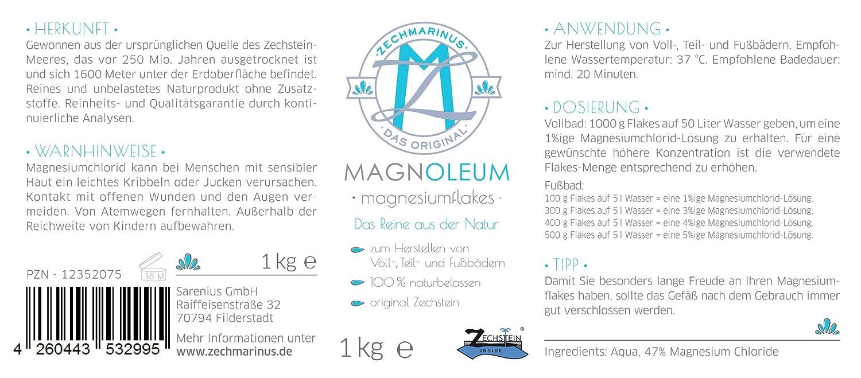 ... magnoleum Magnesio aceite/dermatológicamente probada clínicamente/copos de magnesio - naturales Magnesio Sole - Cloruro de magnesio Hexa hydrat.