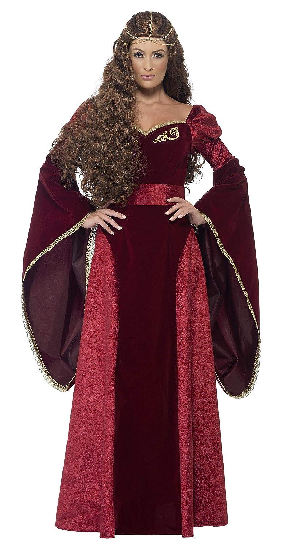 Smiffy'S 27877M Disfraz De Reina Medieval De Lujo Con Vestido Cinturón Y Adorno, Rojo, M - Eu Tamaño 40-42