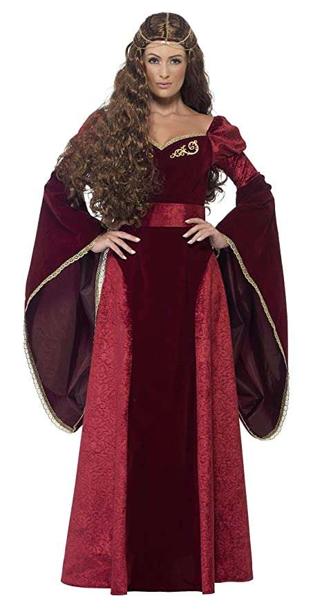 Smiffys - Disfraz de reina medieval, color rojo, Pequeña (27877S)
