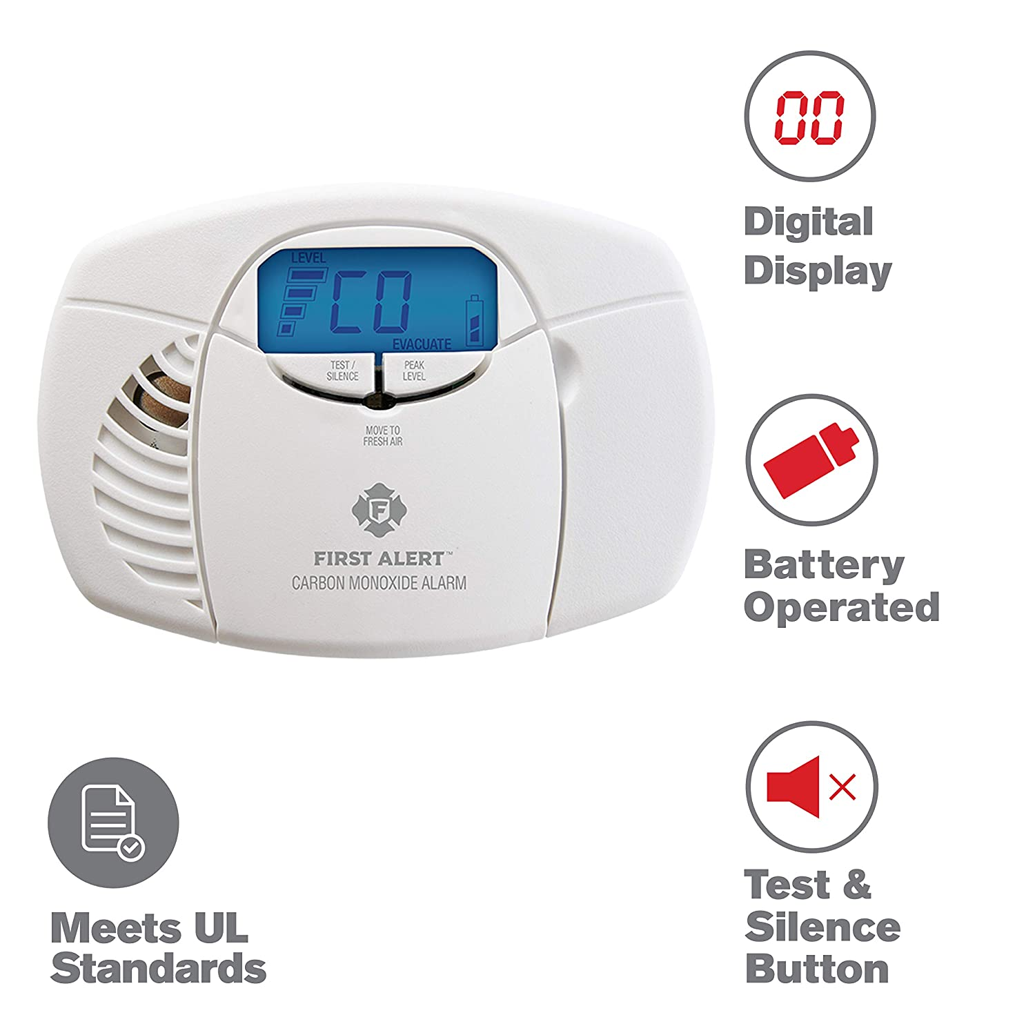 First Alert Carbon Monoxide Detector Alarm No Outlet Required with Digital Display and Peak Memory, Battery Operated, CO410
