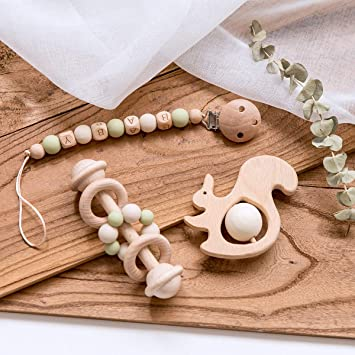 Natural Wooden Grasping Toys Natural Montessori Baby Rattle Toy