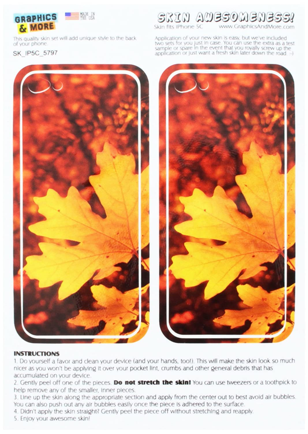 3eb389a4fe ... Leaves - Fall Autumn Colors Protective Skin Sticker Case for Apple  iPhone 5C - Set of 2 - Non-Retail Packaging - Opaque  Cell Phones    Accessories