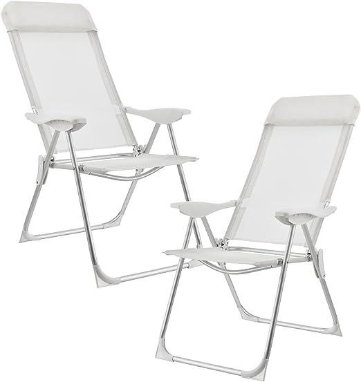 casa.pro] Set de 2 sillas de Camping Plegables Blancas Marco de Aluminio tapicería de Tela para jardín, balcón, terraza o Playa: Amazon.es: Jardín